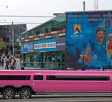 Pink Hummer in Federation square, Melbourne by Pauline Tims