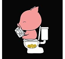 A cute pink piggy pooping coins piggy bank parody Photographic Print