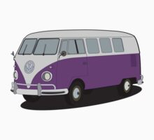 VW type 2 T1 microbus purple by VectorGifts