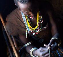 African Tribal Woman Beading - Tanzania by Nina Brandin