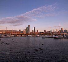 Chicago Harbor and skyline at sunrise by Sven Brogren