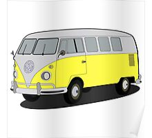 VW type 2 T1 microbus yellow Poster