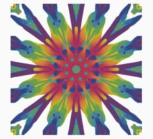 Funky Rainbow Kaleidoscope Flower Mandala One Piece - Short Sleeve