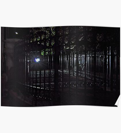 Iron Railings at Night Poster
