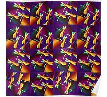 Dragonflies Colours QZ Poster