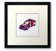Ambulance Emergency Vehicle Retro Framed Print