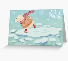 "Polar Bear skating – ""Let It Snow"" Greeting Card"