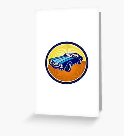 American Vintage Muscle Car Rear Retro Greeting Card