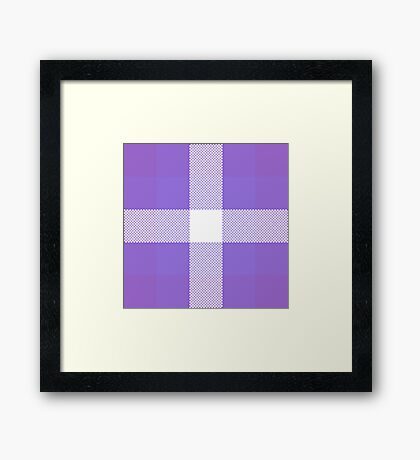 Violet & Purple Textured Plaid Pattern Framed Print