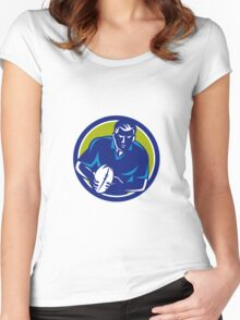 Rugby Player Running Passing Ball Circle Retro Women's Fitted Scoop T-Shirt