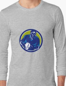 Rugby Player Running Passing Ball Circle Retro Long Sleeve T-Shirt