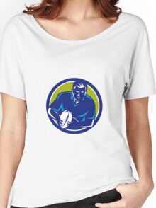 Rugby Player Running Passing Ball Circle Retro Women's Relaxed Fit T-Shirt