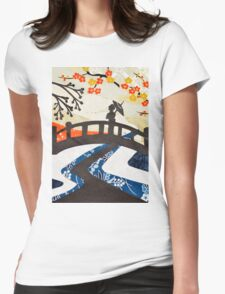 Geisha on Bridge Womens Fitted T-Shirt