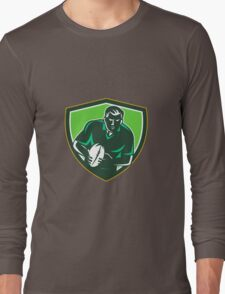 Rugby Player Running Passing Ball Crest Retro Long Sleeve T-Shirt