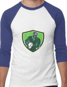 Rugby Player Running Passing Ball Crest Retro Men's Baseball ¾ T-Shirt
