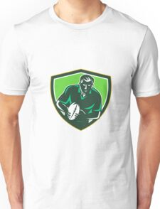Rugby Player Running Passing Ball Crest Retro Unisex T-Shirt