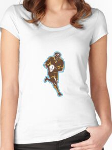 Rugby Player Running Passing Ball Retro Women's Fitted Scoop T-Shirt