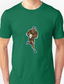 Rugby Player Running Passing Ball Retro Unisex T-Shirt