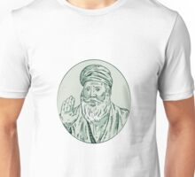 Sikh Guru Priest Waving Etching Unisex T-Shirt