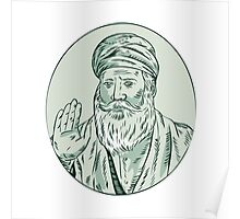 Sikh Guru Priest Waving Etching Poster