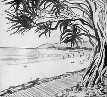 Noosa Pandanas in B&W by gillsart