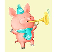 Cheering Cute Pig for Christmas Photographic Print