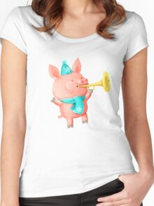 Cheering Cute Pig for Christmas Women's Fitted Scoop T-Shirt