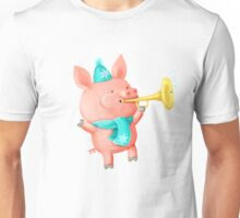 Cheering Cute Pig for Christmas Unisex T-Shirt