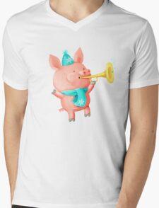 Cheering Cute Pig for Christmas Mens V-Neck T-Shirt
