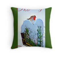 Red Robin Christmas Card Throw Pillow