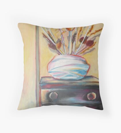 Quiet in the Hallway, Acrylic on canvas Throw Pillow