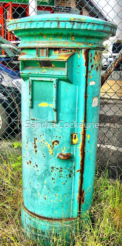 Quirky Green Post Office Pillar Box by Sandra Cockayne