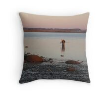 Oyster Picking in Barnstable Harbor Throw Pillow
