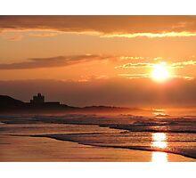 Sunset on Bamburgh Beach Photographic Print