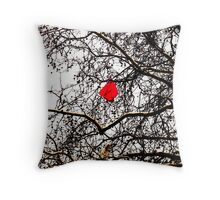 Deflated Red Balloon in a Tree Throw Pillow