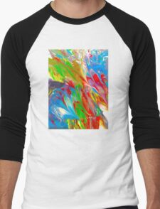 Wet Marbled Paint - Multicoloured Rainbow Men's Baseball ¾ T-Shirt
