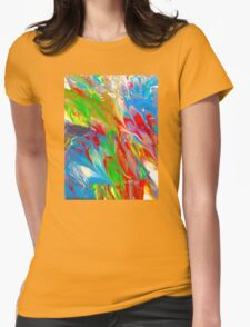 Wet Marbled Paint - Multicoloured Rainbow Womens Fitted T-Shirt