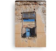 Broken window, Halki island Canvas Print