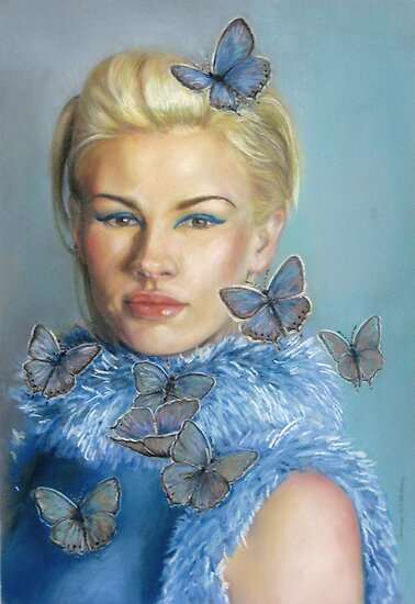 Portrait Art: Chelsea with butterflies by Sorina Williams