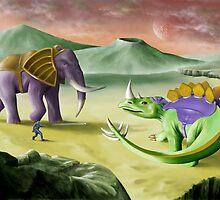 Behemosaur vs. Stegoceros by Francis Imossi