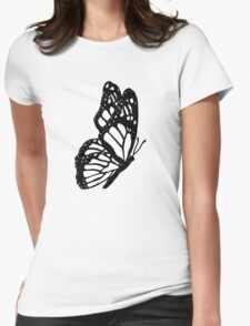 Black and White Butterfly Womens Fitted T-Shirt