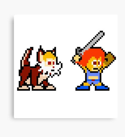 Thundercats 8bit Lion-O and Snarf no text Canvas Print