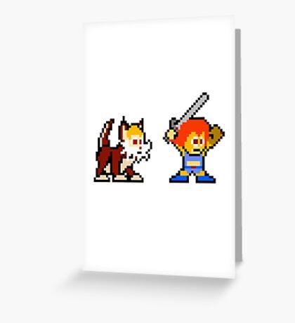 Thundercats 8bit Lion-O and Snarf no text Greeting Card