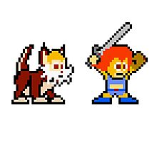Thundercats 8bit Lion-O and Snarf no text Photographic Print