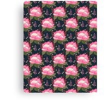Flower Bud pattern design watercolor painting print girly trendy anthro floral pink navy bohemian Canvas Print
