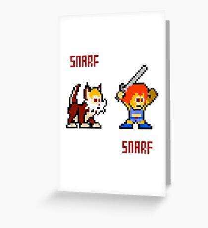 Thundercats 8bit Lion-O and Snarf Greeting Card