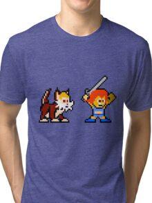 Thundercats 8bit Lion-O and Snarf no text Tri-blend T-Shirt