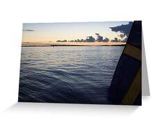 Swedish Flag Trailing Behind Our Sailboat - Gothenburg, Sweden Greeting Card