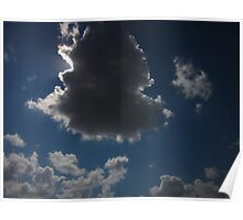 sun shining around cloud Poster