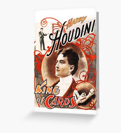 Harry Houdini Master of Cards Vintage Greeting Card